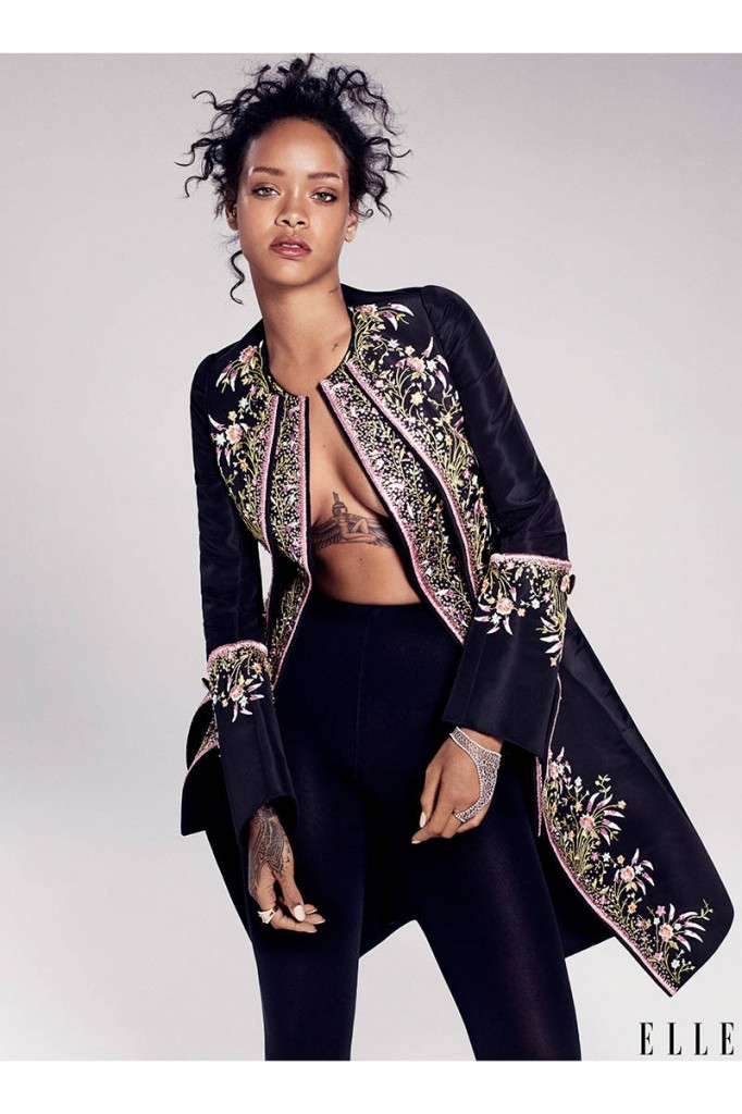 Rih goes high fashion in a coat by Dior Haute Couture.