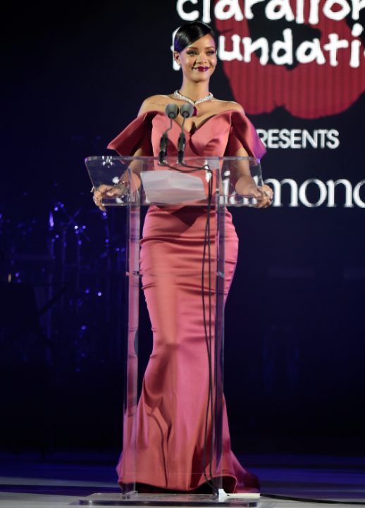 Rihanna welcoming guests