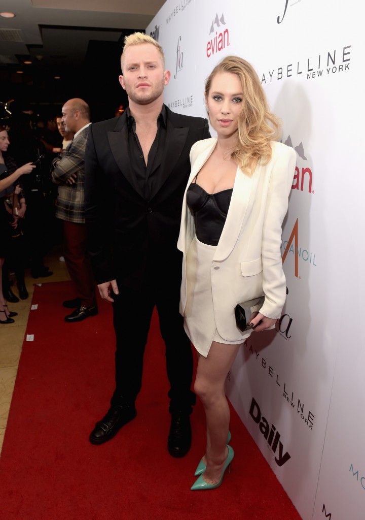 """WEST HOLLYWOOD, CA - JANUARY 22:  Honoree August Getty (L) model Dylan Frances Penn attend The DAILY FRONT ROW """"Fashion Los Angeles Awards"""" Show at Sunset Tower on January 22, 2015 in West Hollywood, California.  (Photo by Jason Kempin/Getty Images for the DAILY FRONT ROW)"""