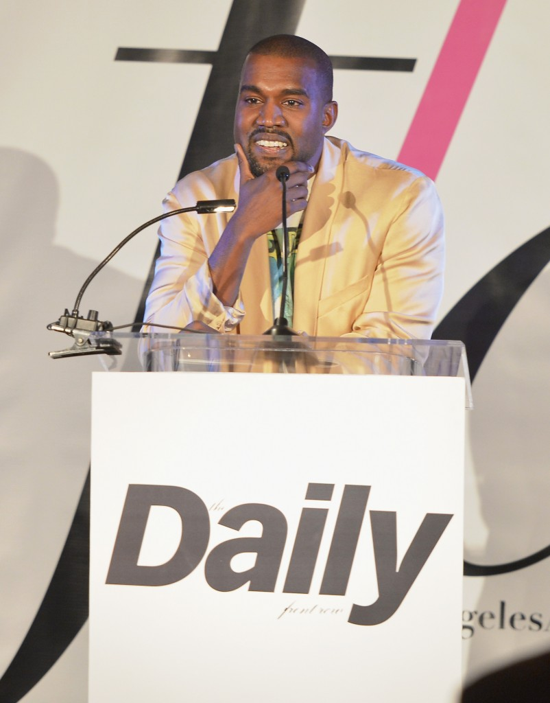 """WEST HOLLYWOOD, CA - JANUARY 22:  Recording artist Kanye West speaks onstage at The DAILY FRONT ROW """"Fashion Los Angeles Awards"""" Show at Sunset Tower on January 22, 2015 in West Hollywood, California.  (Photo by Charley Gallay/Getty Images for the DAILY FRONT ROW)"""