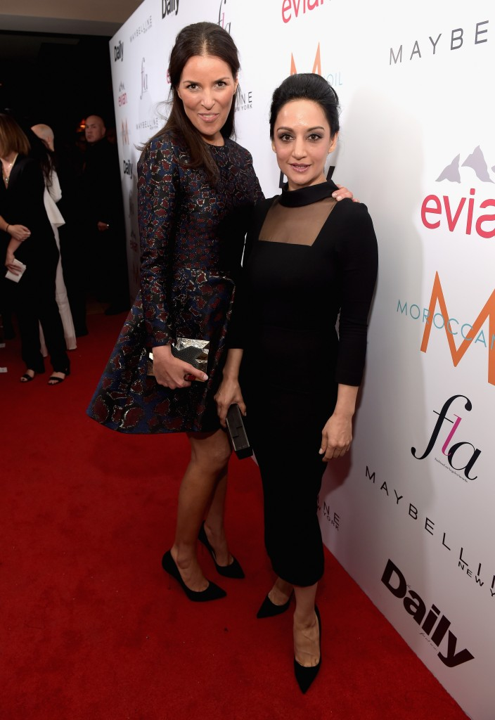"WEST HOLLYWOOD, CA - JANUARY 22:  Honoree Ann Caruso and actress Archie Panjabi  attend The DAILY FRONT ROW ""Fashion Los Angeles Awards"" Show at Sunset Tower on January 22, 2015 in West Hollywood, California.  (Photo by Jason Kempin/Getty Images for the DAILY FRONT ROW)"