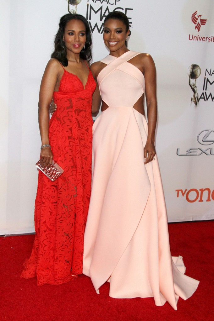 Kerry Washington, Gabrielle Union attends The 46th Annual NAACP Image Awards-Arrivals in LA