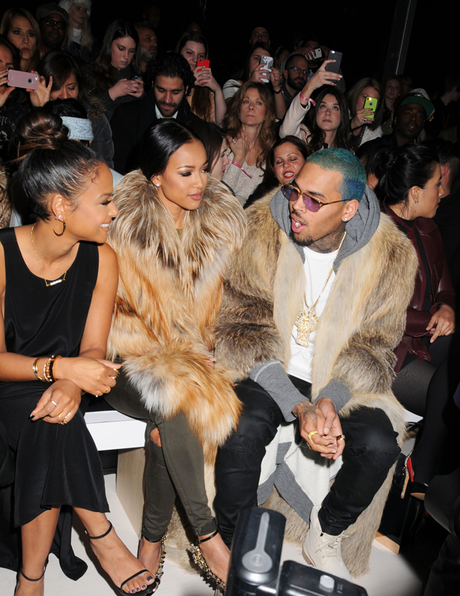 Chris Brown and Karreuche Tran at the Michael Costello fashion show