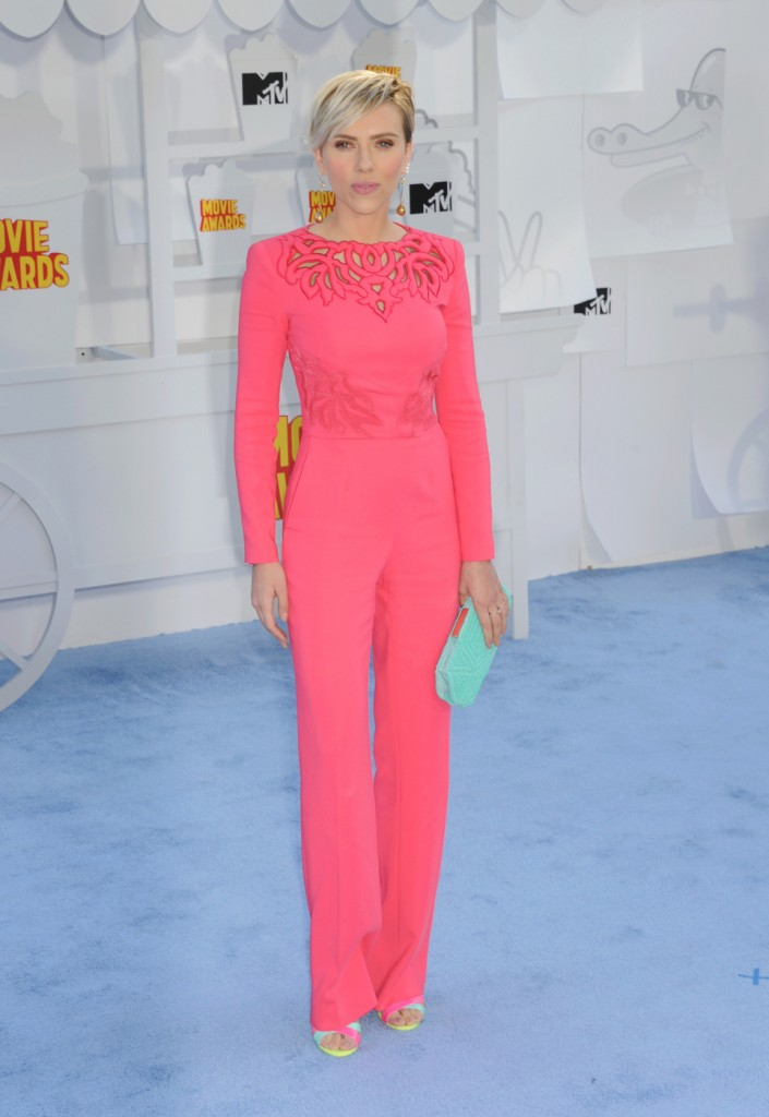 Actress Scarlett Johansson arrives at the 2015 MTV Movie Awards at Nokia Theatre in Los Angeles