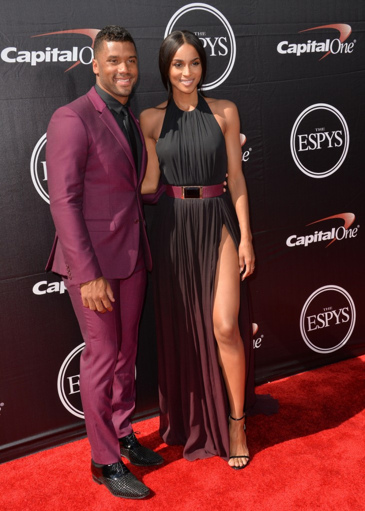 140174, Ciara, Russell Wilson at the 2015 ESPY Awards at the Microsoft Theatre in Los Angeles. Los Angeles, California - Wednesday July 15, 2015. NORTH AMERICA & SOUTH AMERICA ONLY Photograph: © Xclusive, PacificCoastNews. Los Angeles Office: +1 310.822.0419 sales@pacificcoastnews.com FEE MUST BE AGREED PRIOR TO USAGE