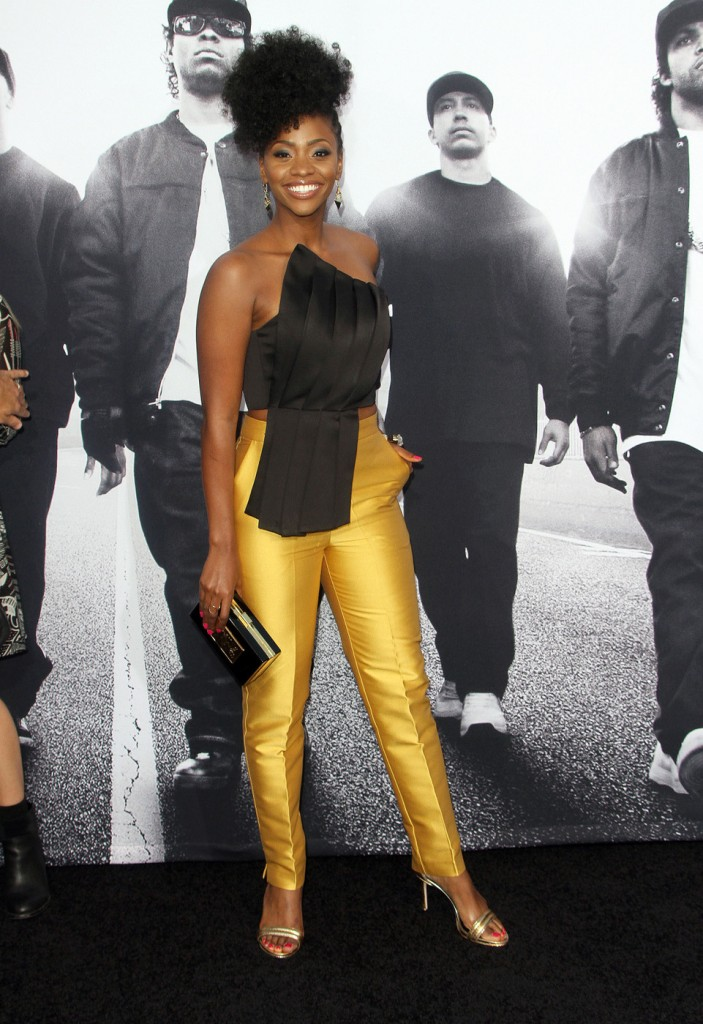Teyonah Parris attends the premiere of 'Straight Outta Compton' in LA