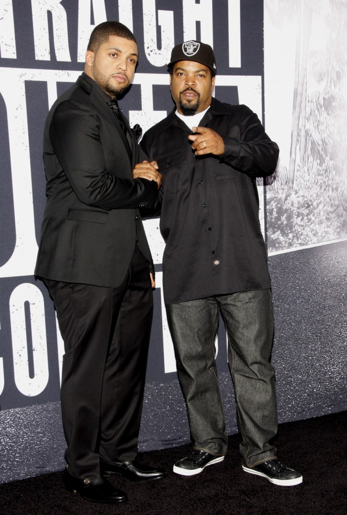 Ice Cube and O'Shea Jackson Jr. at the Los Angeles premiere of 'Straight Outta Compton'