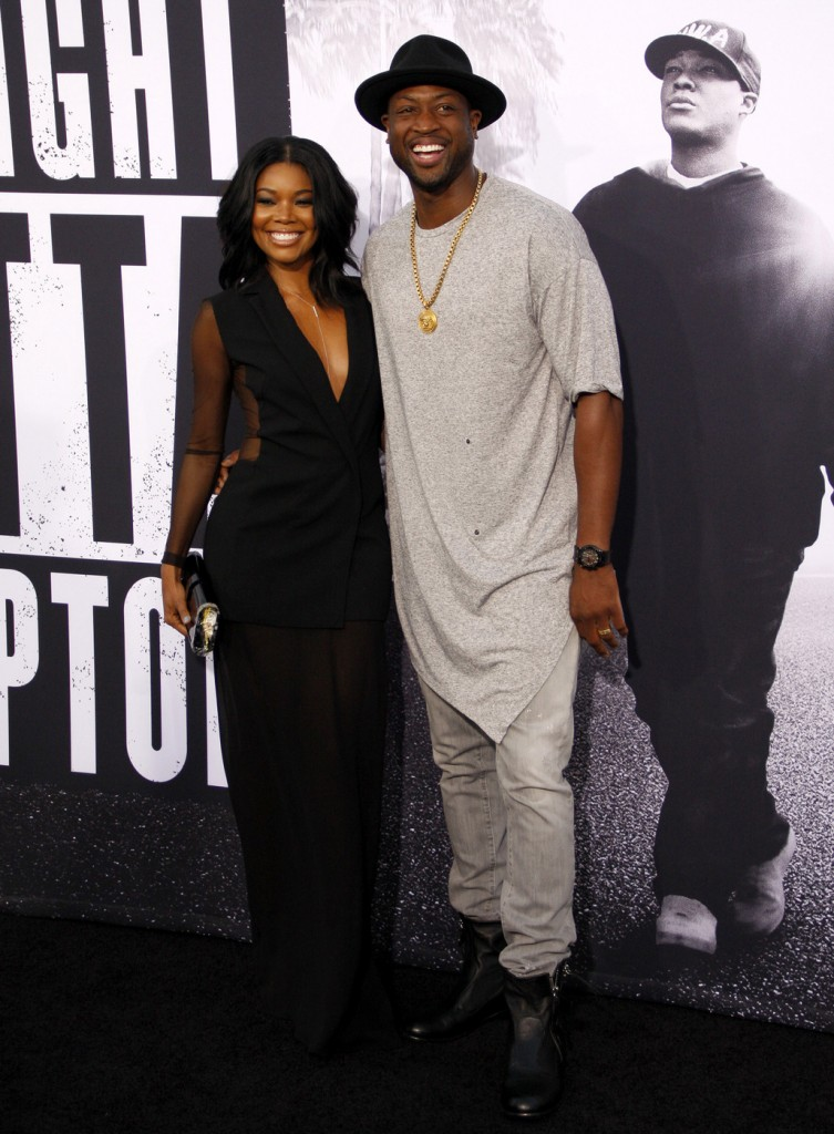Dwyane Wade and Gabrielle Union at the Los Angeles premiere of 'Straight Outta Compton'