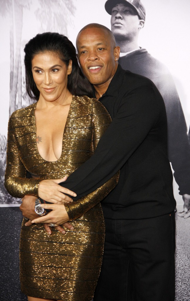 Dr. Dre and Nicole Young at the Los Angeles premiere of 'Straight Outta Compton'