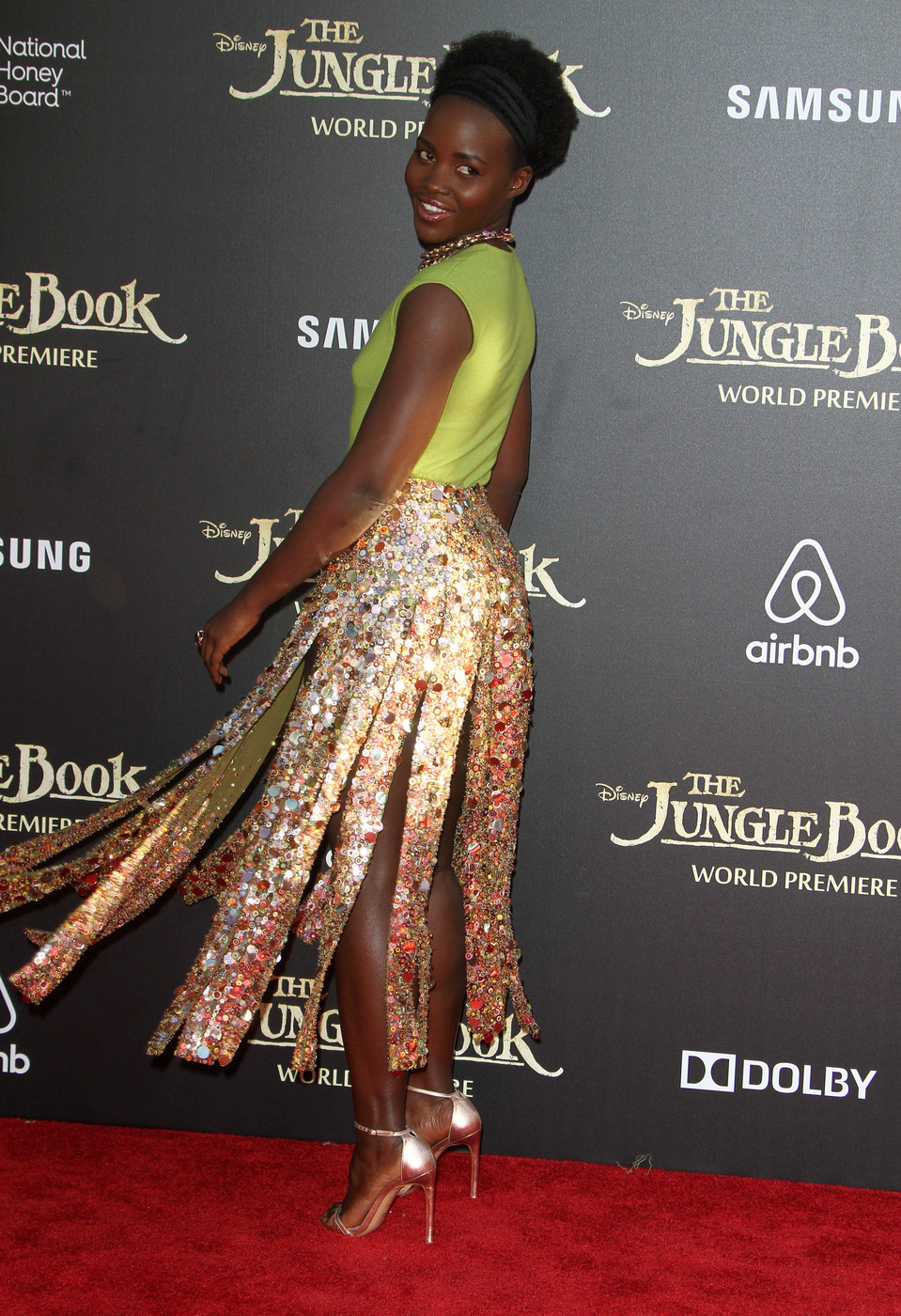 Lupita Nyong'o attends the premiere of 'The Jungle Book ' at El Capitan Theater, Hollywood