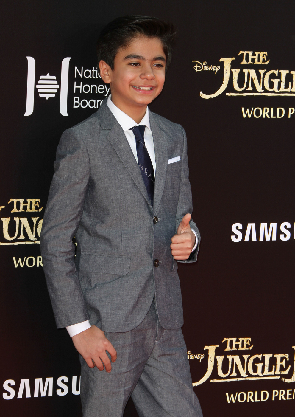 Neel Sethi attends the premiere of 'The Jungle Book ' at El Capitan Theater, Hollywood
