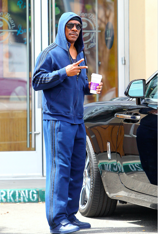 Eddie Murphy spotted in a blue Adidas track suit while out grabbing coffee at a Beverly Hills Coffee Bean. Los Angeles, California - Sunday April 24, 2016