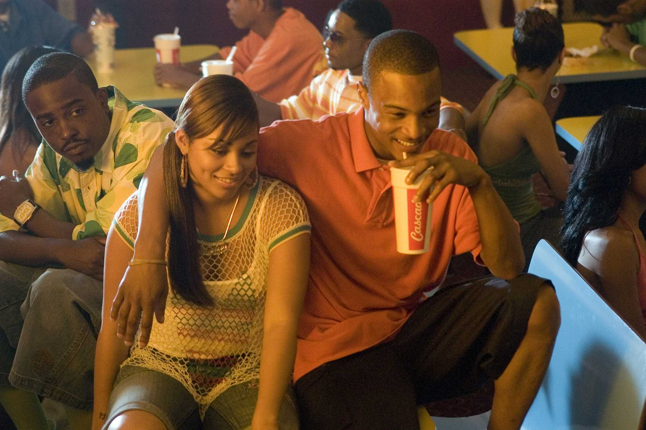 """JASON WEAVER as Teddy, LAUREN LONDON as New-New and TIP """"T.I."""" HARRIS as Rashad in Warner Bros. Pictures' music-driven coming of age story, ATL. PHOTOGRAPHS TO BE USED SOLELY FOR ADVERTISING, PROMOTION, PUBLICITY OR REVIEWS OF THIS SPECIFIC MOTION PICTURE AND TO REMAIN THE PROPERTY OF THE STUDIO. NOT FOR SALE OR REDISTRIBUTION."""