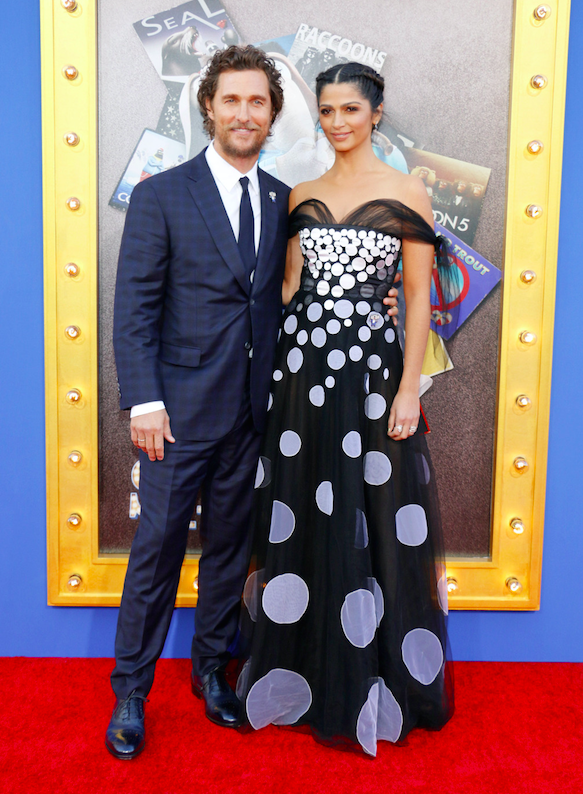 Matthew McConaughey and Camila Alves at the Los Angeles premiere of 'Sing' held at the Microsoft Theater. Los Angeles, California - Saturday December 3, 2016.