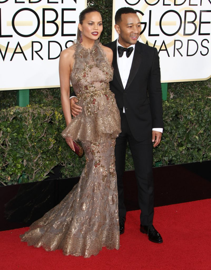 160681, Chrissy Teigen, John Legend attends The 74th Annual Golden Globe Awards. Los Angeles, California - Sunday January 8 2017. Photograph: © PacificCoastNews. Los Angeles Office (PCN): +1 310.822.0419 UK Office (Photoshot): +44 (0) 20 7421 6000 sales@pacificcoastnews.com FEE MUST BE AGREED PRIOR TO USAGE