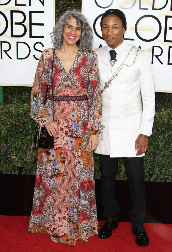 160681, Pharrell Williams, Mimi Valdes attends The 74th Annual Golden Globe Awards. Los Angeles, California - Sunday January 8 2017. Photograph: © PacificCoastNews. Los Angeles Office (PCN): +1 310.822.0419 UK Office (Photoshot): +44 (0) 20 7421 6000 sales@pacificcoastnews.com FEE MUST BE AGREED PRIOR TO USAGE