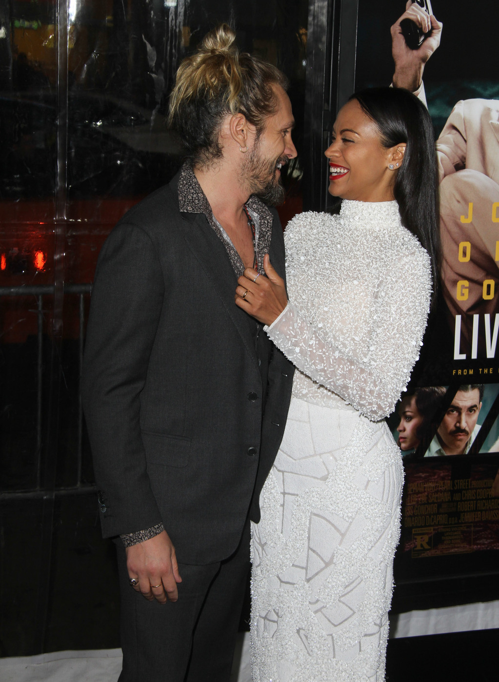 160733, Zoe Saldana, Marco Perego attend the Los Angeles premiere of 'Live By Night'. Los Angeles, California - Monday January 9, 2017. Photograph: © PacificCoastNews. Los Angeles Office (PCN): +1 310.822.0419 UK Office (Photoshot): +44 (0) 20 7421 6000 sales@pacificcoastnews.com FEE MUST BE AGREED PRIOR TO USAGE