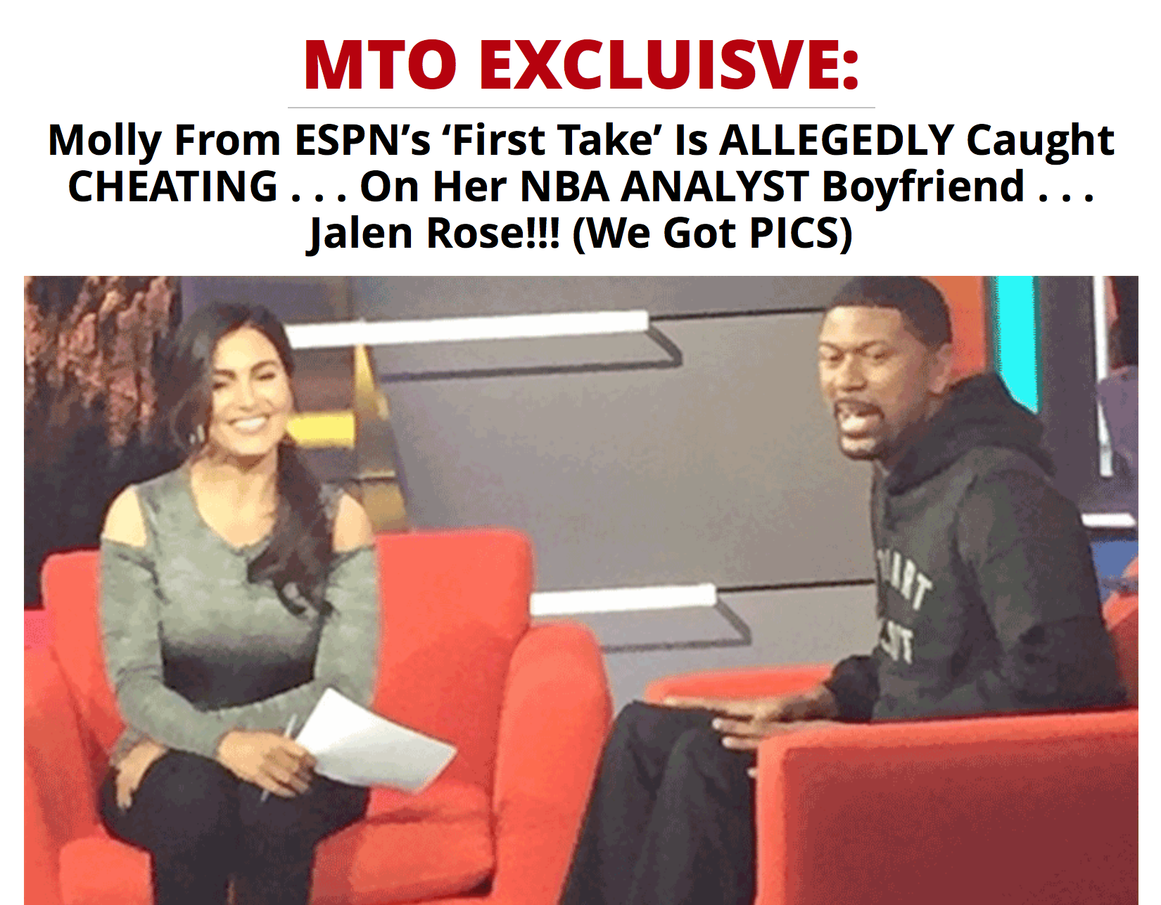 First Take Host Molly Qerim Cheating Story Is #FAKENEWS ... Here We Go  Again, MTO! - HipHollywood