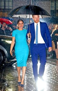 Meghan Markle stunned in blue Victoria Beckham dress