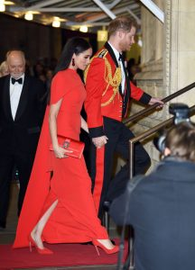 Meghan Markle wore a red Safiyaa cape dress during last appearance as a royal