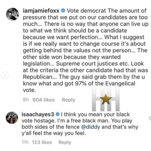 Jamie Foxx Tells Black People To Vote Democrat Following Diddy's Tweet